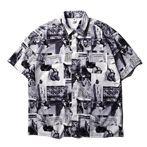 Estilo verão jornal impresso mulheres homens camisas de manga curta hiphop streetwear homens de algodão casuais camisas de praia