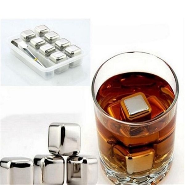 Set of 8 Stainless Steel Ice Cubes with Tongs & Tray, Iced Cubes Rock Neat Drink Whiskey Stone 0513ayq
