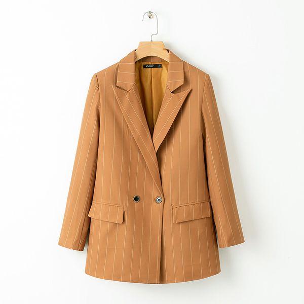 2019 классические полосатые пиджаки Элегантная OL женщина двубортные карманы пиджаки с надрезом случайные Casaco Femme