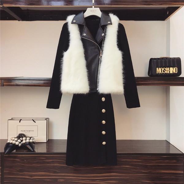 Amolapha Женщины Кожаный Мех Лоскутное Жилет Пальто + Вязаные Черные Платья Bodycon 2 Шт. Комплекты Одежды Костюмы
