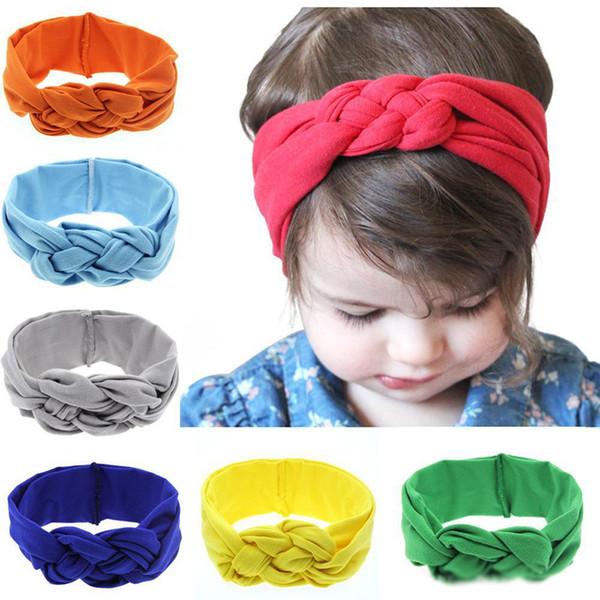 16 colori bambino elastico cotone fasce infantile ragazze treccia twist turbante capo avvolge bambini bambini elastico confortevole allenamento hairband