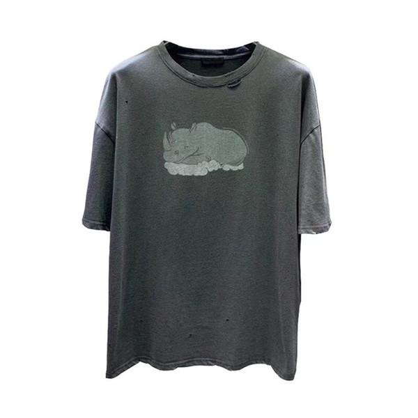 T-shirt da uomo oversize con foro bucato Top 1s: 1 T Shirt da uomo stile Rhino di alta qualità