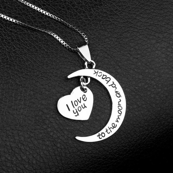 I love you To The Moon and Back Necklace Love Heart Necklaces Pendant for Women Fashion Jewelry Valentine Gift