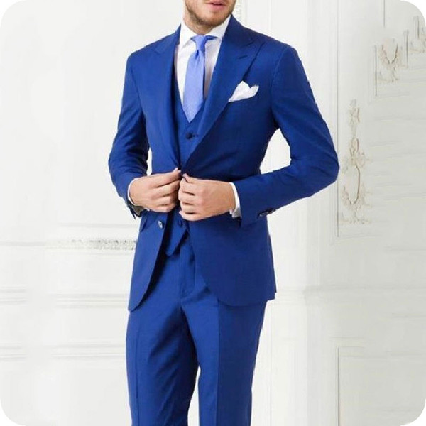 Latest Peaked Lapel Design Royal Blue Men Suits for Wedding Groom Tuxedo Suits Man Blazer Jacket 3Pieces trajes para hombre Terno Masculino
