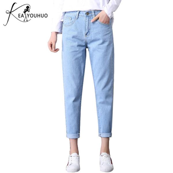 2019 Winter Solide Wash Boyfriend Weibliche Hohe Taille Für Bleistift Denim Jeans Mom Lange Hosen Frau Plus Größe 25-32 Q190419