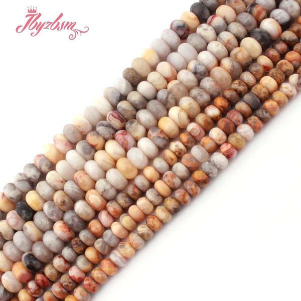 RONDELLE Multicolor dentelle Crazy agates loose naturelles perles en pierre pour les bijoux bricolage Faire Collier Braceler 3x6 / 4x8mm Strand 15