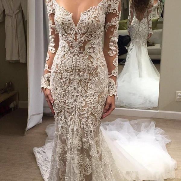 2020 Cheap Sexy Robe de mariée sirène Voir à travers dentelle dos transparent avec appliques bouton Cour manches longues train grande taille Robes de mariée