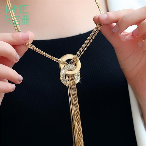 Hot Sale! Female Sweater Accessories Round Circle Long Tassel Simple Style Shiny Gold Silver Color High Quality Chain Necklaces C18122501