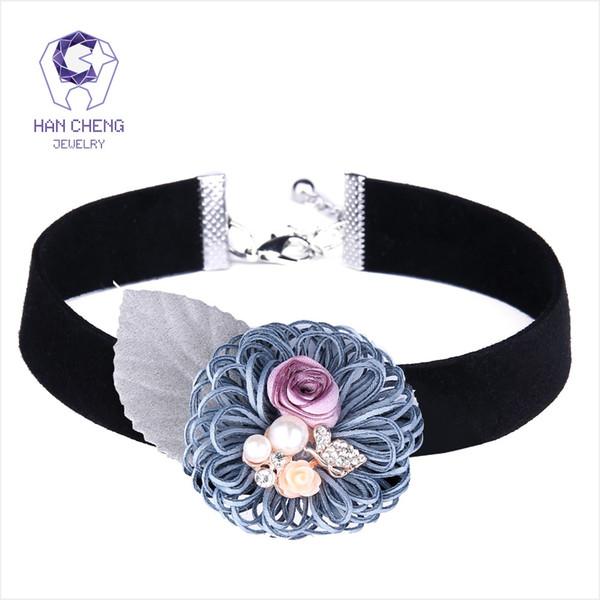 Hancheng nova moda strass pérola borboleta flor choker mulheres colar colares fita de veludo colar de jóias bijoux