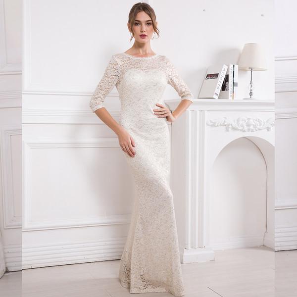 Angel-modas das mulheres meia manga vestido de festa de boda ilusão lace formal vestidos de noite peplum vestido 415 y190525
