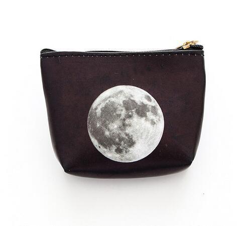 De las mujeres moda pequeña moneda bolsa de cuero Pu de La Moneda monedero genial estrellas universo espacio moneda dinero