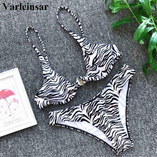 V-бар на косточках бикини женский купальник 2019 женщин купальники из двух частей V-образный провод бикини установить купальщик Зебра купальный костюм V1112