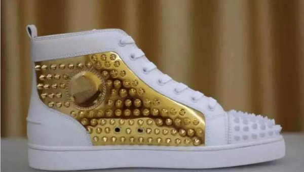 2019 New Design Brand Rivets Casual Shoes For Men and Womens,Designer Couple Red Bottom Sneakers High Top Studded Males Women Flat Shoes C04