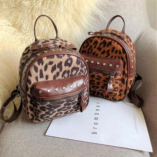 Women PU Leather Backpack Rivet Leopard Print Small Travel Shoulder Bags Lady Mini Backpacks Kids Travel Bags