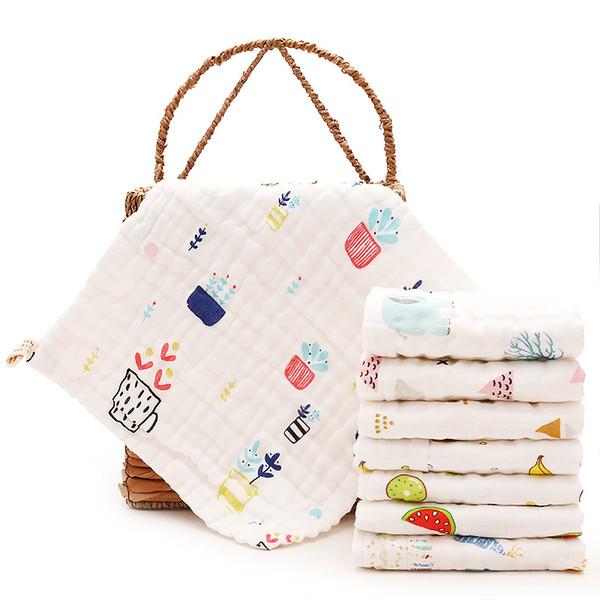 Baby Muslin Towel Cotton Floral Square Bibs Kids 6 Layers Washing Gauze Handkerchief Towel Wipe Cloth Wrap Toddler Bibs GGA2332