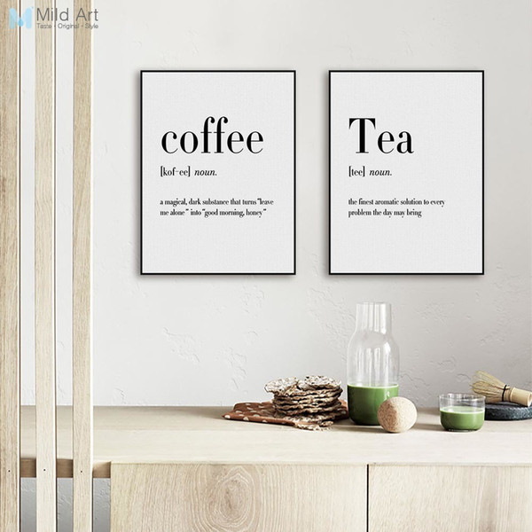 all art picture Minimalist Black and White Beer Coffee Wine Quotes Posters Print Nordic Kitchen Room Wall Art Picture Home Decor Canvas P...