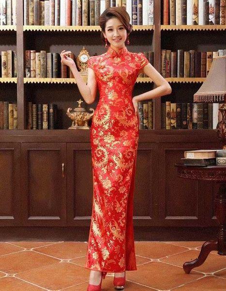Long cheongsam Dress marmaid Dress Chinese Improved Etiquette Hotel cheongsam High Slit From Wendy