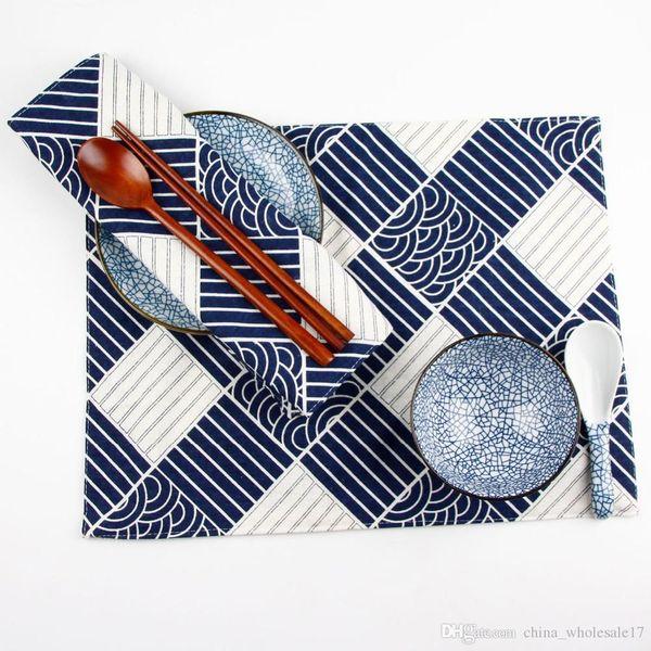 30 * 40 см японский стиль мода темно-синий принт ткань салфетки теплоизоляция коврик обеденный детский стол Placemat хлопок лен