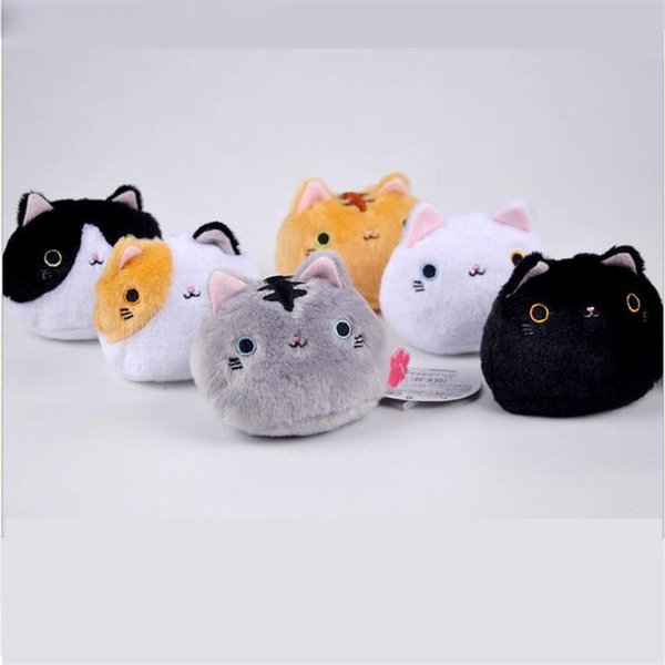 6colors KAWAII 8CM Cats Stuffed TOYS Keychain Cat Gift Plush TOY DOLL For Kid's Party Birthday Plush Toys For Girl NEW