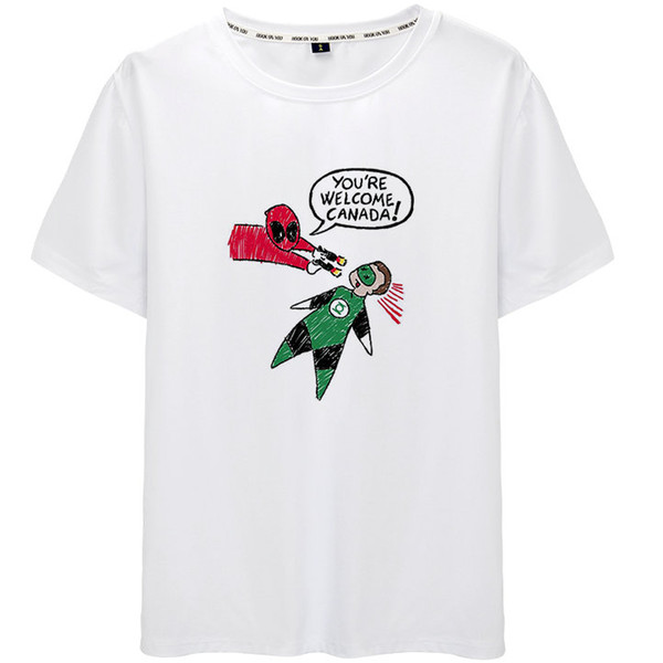 Hoşgeldiniz t gömlek Deadpool kısa kollu tops Yeşil Fener kanada unisex haslığı tees Colorfast baskı giyim Saf renk modal tshirt