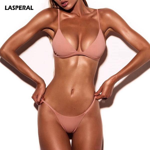 LASPERAL 2019 Sexy Solid Top Thong Micro Bikini Women Swimsuit Brazilian Bikinis Set Bathing Suit Beach Maillot De Bain Monokini