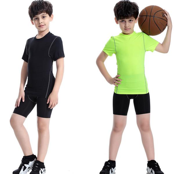 Erkek spor takım elbise spor takım elbise koşu setleri spor eğitimi koşu yoga setleri sıkıştırma çalışan rashguard çocuklar 2 adet eşofman