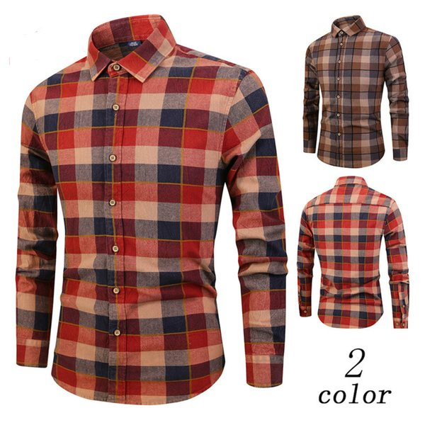 lapel pure lattice fashion high quality business men's autumn winter flannel plaid long sleeve twill slim fit styles shirt