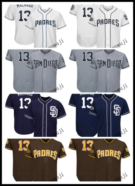 Jersey 13 Manny Machado Stitched Blue White Grey Coffee Cool Base Player Baseball Jerseys