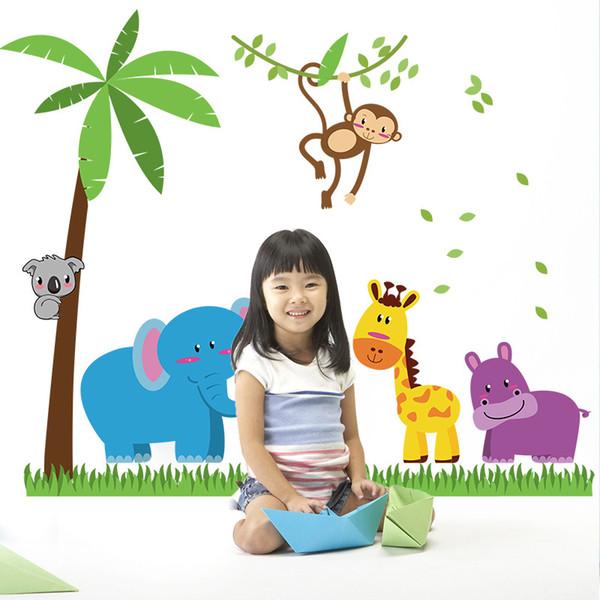 Karikatür Hayvan Zürafa Maymun Fil Duvar Sticker Çocuklar Için Bebek Odaları Dekorasyon Posteri Hindistan Cevizi Ağacı PVC Sanat Mural Duvar Kağıdı