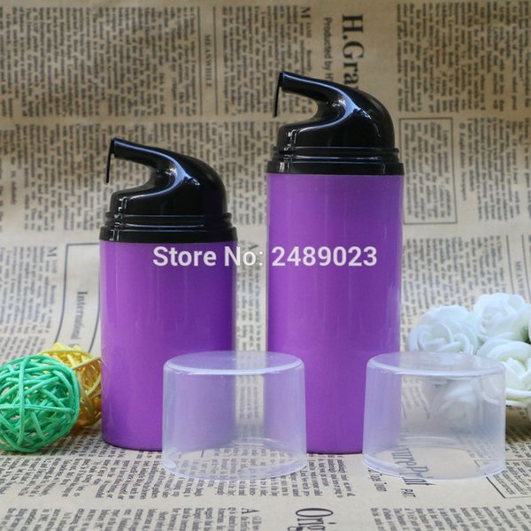 Purple Airless Pump Bottle Black Head Transparent Cap Makeup Lotion Serum Liquid Foundation Empty Cosmetic Containers 100pcs/lot