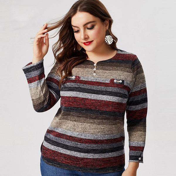 2019 Herbst Winter Damen Langarm T-Shirt Art und Weise plus Größen-Damen femal Extensible Jahrgang elegante Tops