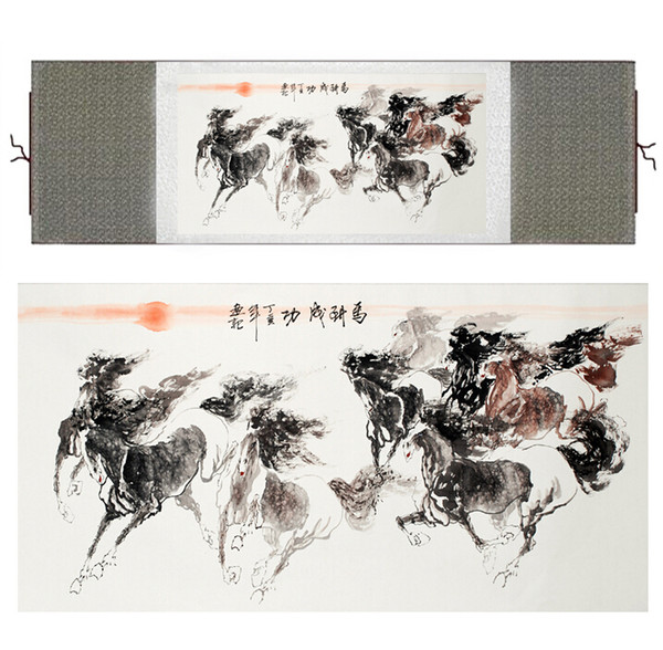 Horse Painting Traditional Chinese Painting On Silk Painting Horse Picture Scroll