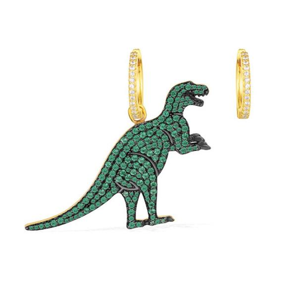 Cute Crystal Dinosaur Stud Earrings For Women Asymmetry Animal Earrings Fashion Jewelry Gift boucle d'oreille femme 2019