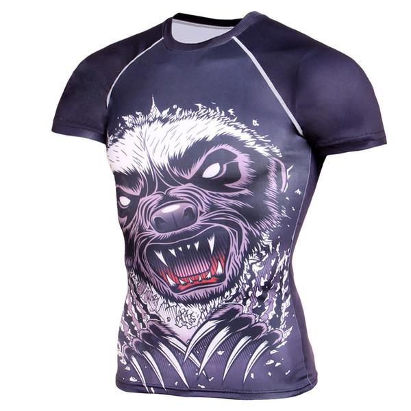 Bodybuilding T-shirt respirant Fitness 3D imprimé moulante col rond manches courtes à manches raglan à manches courtes T-shirt à séchage rapide des hommes