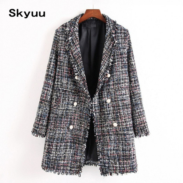 Skyuu Long Tweed Blazer Women Elegant 2019 Autumn Winter Casual Full Sleeve Button Finger Tassel Outerwear Female Office Blazers #409074