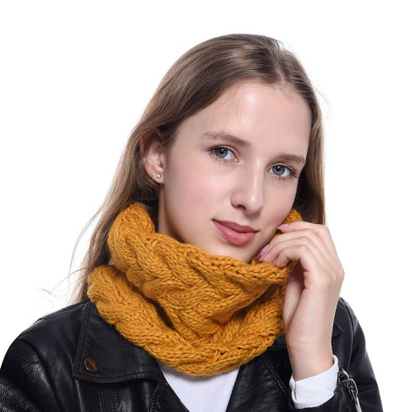 Designer Ring Scarf Bufanda For Women Winter Warm Scarves Luxury head Scarf Wool Knitting 9 Colors