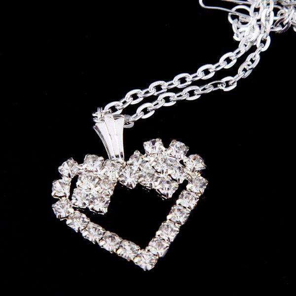 Bling Bling Rhinestone Kalp Kolye Kolye Kadın Kalp Zincir Kolye Hediye Düğün Gelin Takı Aksesuarları için