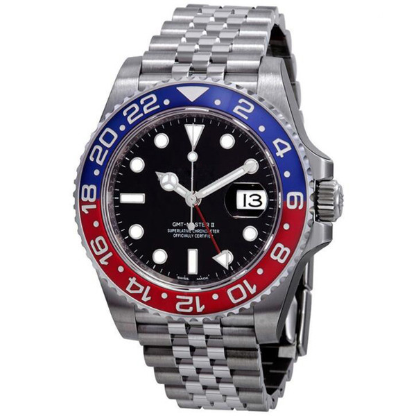 15 colores GMT relojes 40m fecha hombres maquinaria automática Reloj de fiesta movimiento de barrido relojes Sin batería modelo