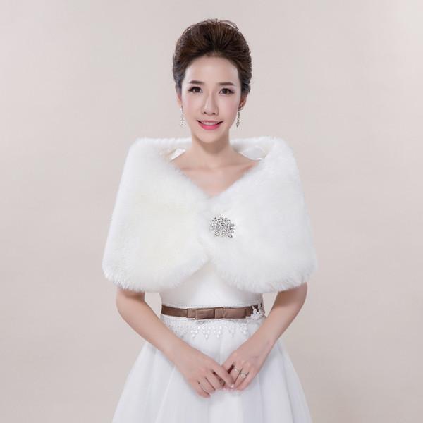 Wedding hair shawl bride warm autumn and winter vest shoulder rabbit fur diamond wedding dress coat red white wholesale