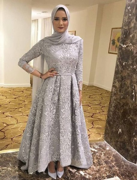 Three Quaters Sleeves Modest Grey Lace Muslim Formal Occasion Dress High Neck Evening Gowns