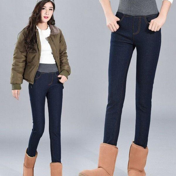 Women Winter Thick Thermal Warm Fleece Nap High Waist Jeans Trousers Pants Hot