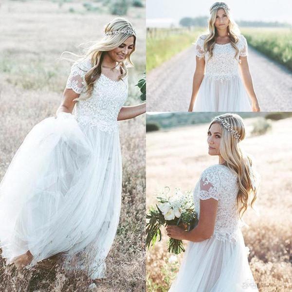 2019 mangas cortas de encaje una línea de vestidos de novia de cuello redondo de tul acanalada Boho país boda Birdal vestidos BC0758