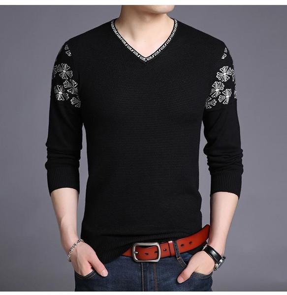 Primavera Outono V-Neck Camisolas Moda Sólidos Bordado Camisolas Sleeved longos de malha camisolas casual de Slim Mens Clothing