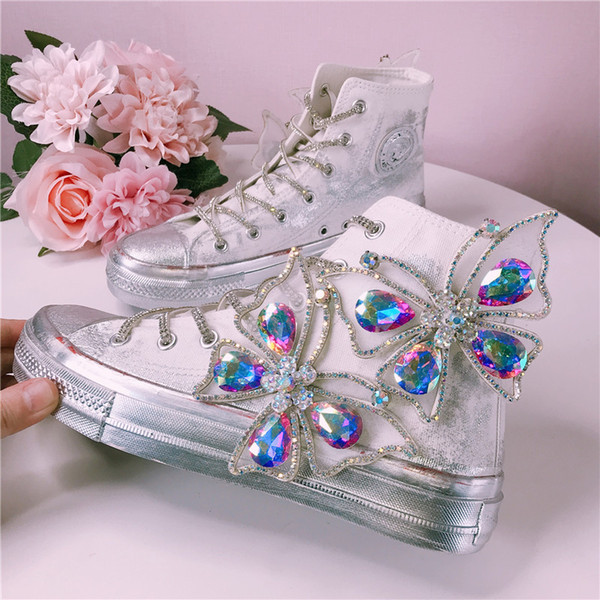 flats shoes women creepers Handmade old canvas shoes breathable daffodils Butterfly Jewelry graffiti flat-soled