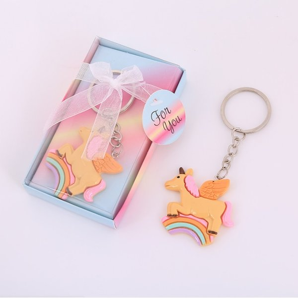 FREE SHIPPING Baby Birthday Party Giveaway Rainbow Unicorn Key Chain Newborn Baptism Baby Christening Souvenir W8481