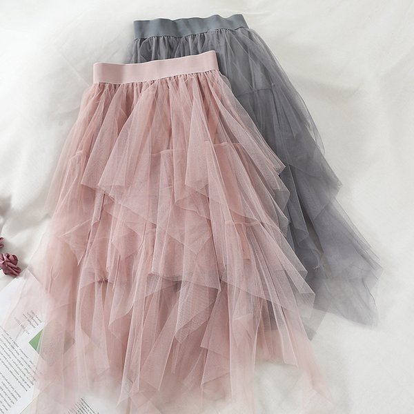 2019 Fashion Spring New Solid Color Asymmetrical Lace Mesh Voile Sexy Loose Casual Womens Irregular Skirt Simple E037