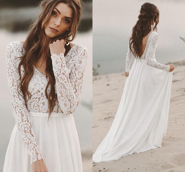 Illusion Long Sleeve Beach Wedding Dresses Vestido Do Novia Lace Chiffon V-neck V Backless Wedding Guest Dress Bridal Gowns Party For Bridal