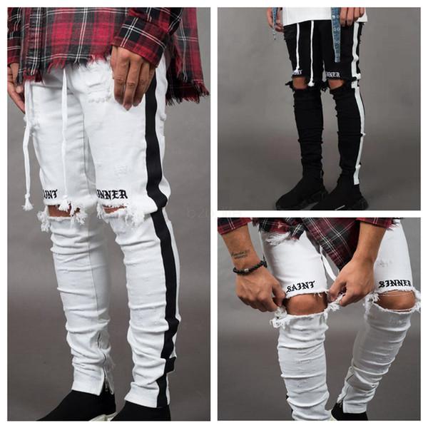 best selling Mens Designer Ripped Jeans Hole Distressed striped Zipper Jeans Trousers Slim Hip Hop Biker Denim Pants Skinny LJJA2543