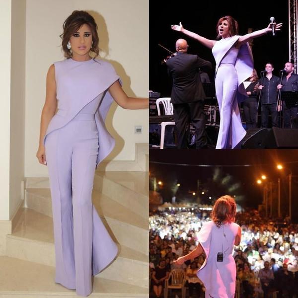 2019 Lavender Prom Jumpsuit For Women Arabic Evening Dresses Jewel Neck Plus Size Party Wear Cheap Sheath Ruffled Celebrity Dress BC1077