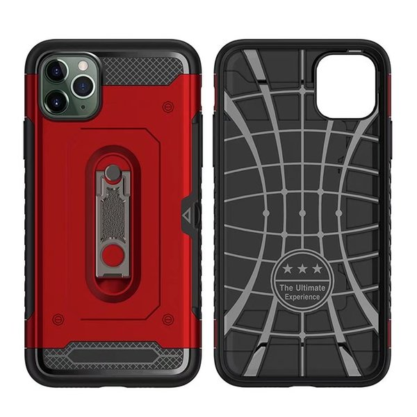 Double Shockproof Hard Phone Case For iPhone 11 Pro Max Xs Xr X Armor Car Stand Holder Cover For iPhone 7 8 Plus 6s 6 With Card Slot